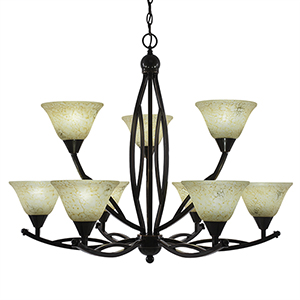 Bow Black Copper 33-Inch Nine-Light Chandelier with Italian Marble Glass