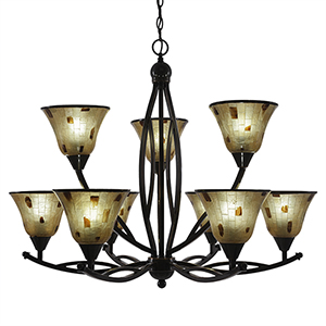Bow Black Copper 33-Inch Nine-Light Chandelier with Penshell Resin
