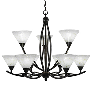 Bow Black Copper 33-Inch Nine-Light Chandelier with Gold Ice Glass