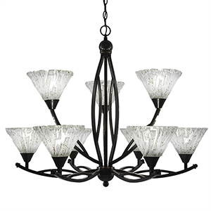 Bow Black Copper 33-Inch Nine-Light Chandelier with Italian Ice Glass