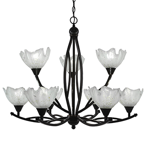 Bow Black Copper 33-Inch Nine-Light Chandelier with Asymmetrical Gold Ice Glass