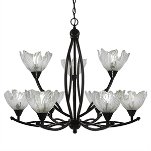 Bow Black Copper 33-Inch Nine-Light Chandelier with Asymmetrical Italian Ice Glass