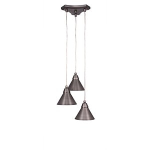 Europa Brushed Nickel 13-Inch Three-Light Pendant with Bronze Cone Metal Shade