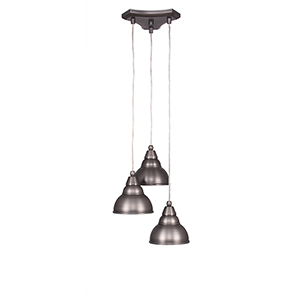 Europa Brushed Nickel 14-Inch Three-Light Pendant with Bronze Double Bubble Metal Shade