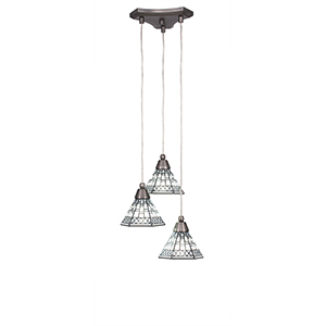 Europa Brushed Nickel 13-Inch Three-Light Pendant with Pewter Tiffany Glass