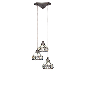 Europa Brushed Nickel 13-Inch Three-Light Pendant with Royal Merlot Tiffany Glass