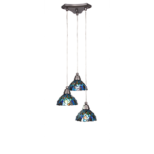 Europa Brushed Nickel 14-Inch Three-Light Pendant with Blue Mosaic Mini Tiffany Glass