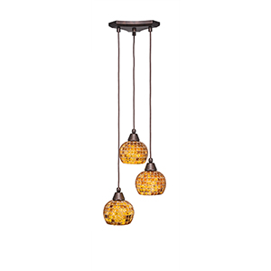 Europa Bronze 12-Inch Three-Light Pendant with Copper Mosaic Glass