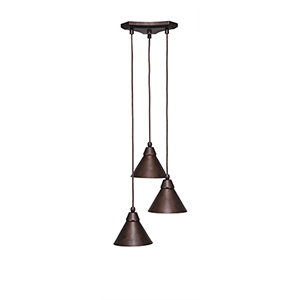 Europa Bronze 13-Inch Three-Light Pendant with Matte Black Cone Metal Shade