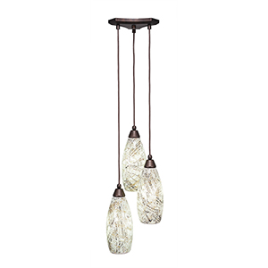 Europa Bronze 11-Inch Three-Light Pendant with Natural Fusion Glass
