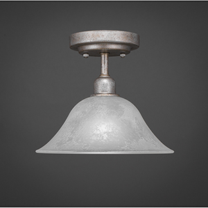 Vintage Aged Silver 10-Inch One-Light Semi Flush Mount with White Marble