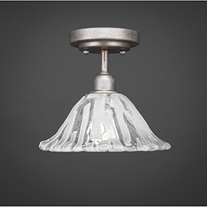 Vintage Aged Silver 10-Inch One-Light Semi Flush Mount with Italian Ice