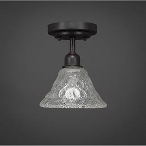Vintage Dark Granite Seven-Inch One-Light Semi Flush Mount with Italian Bubble Glass