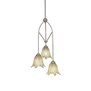Contempo Brushed Nickel 13-Inch Three-Light Pendant with Vanilla Leaf Glass