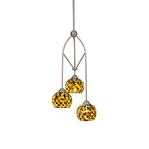 Contempo Brushed Nickel 12-Inch Three-Light Pendant with Sea Mist Seashell Glass