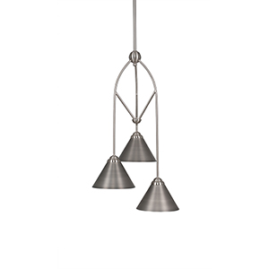Contempo Brushed Nickel 13-Inch Three-Light Pendant with Bronze Cone Metal Shade