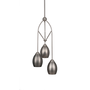 Contempo Brushed Nickel 11-Inch Three-Light Pendant with Bronze Beehive Metal Shade