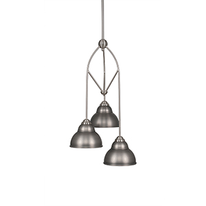 Contempo Brushed Nickel 13-Inch Three-Light Pendant with Bronze Double Bubble Metal Shade