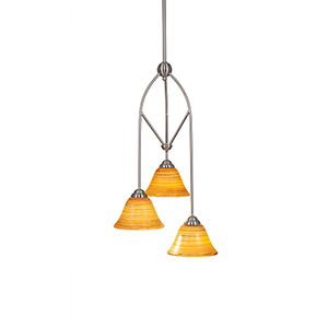 Contempo Brushed Nickel 13-Inch Three-Light Pendant with Firré Saturn Glass