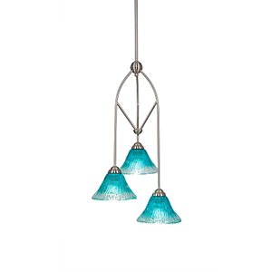 Contempo Brushed Nickel 13-Inch Three-Light Pendant with Teal Crystal Glass