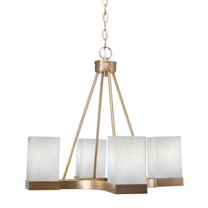 Nouvelle New Age Brass 22-Inch Four-Light Chandeliers with White Muslin Glass