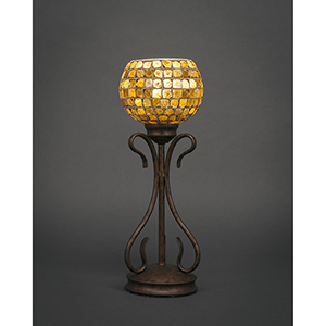 Swan Bronze Six-Inch One-Light Table Lamp with Copper Mosaic Glass