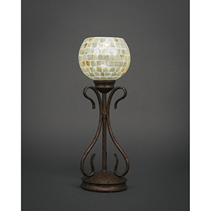 Swan Bronze Six-Inch One-Light Table Lamp with Mystic Seashell