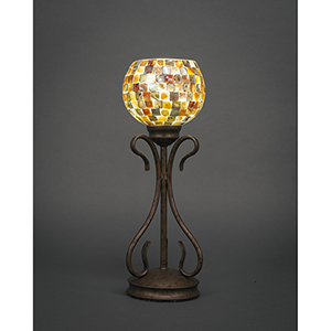 Swan Bronze Six-Inch One-Light Table Lamp with Sea Mist Seashell Glass