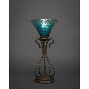 Swan Bronze Seven-Inch One-Light Table Lamp with Teal Crystal Glass