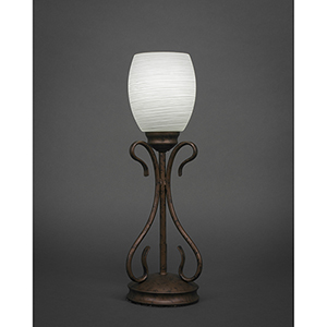 Swan Bronze Five-Inch One-Light Table Lamp with White Linen Glass