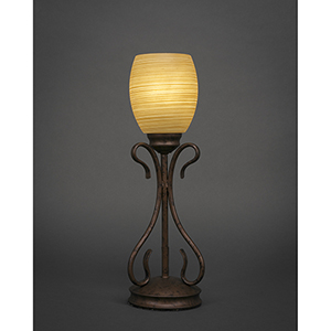 Swan Bronze Five-Inch One-Light Table Lamp with Cayenne Linen Glass