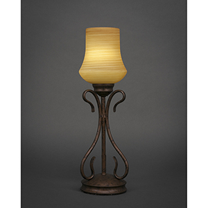 Swan Bronze Five-Inch One-Light Table Lamp with Zilo Cayenne Linen Glass