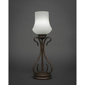 Swan Bronze Five-Inch One-Light Table Lamp with Zilo White Linen Glass