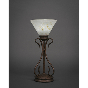 Swan Bronze Seven-Inch One-Light Table Lamp with Gold Ice Glass
