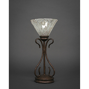 Swan Bronze Seven-Inch One-Light Table Lamp with Italian Ice Glass