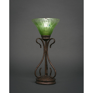 Swan Bronze Seven-Inch One-Light Table Lamp with Kiwi Green Crystal Glass