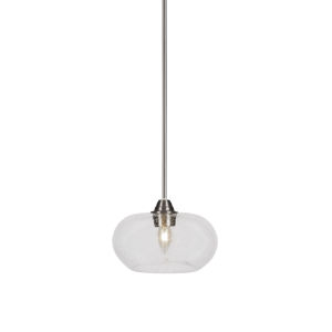 Paramount Brushed Nickel One-Light 10-Inch Pendant with Clear Bubble Glass