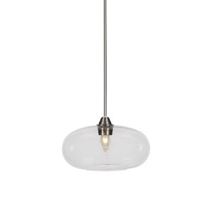 Paramount Brushed Nickel One-Light 13-Inch Pendant with Clear Bubble Glass