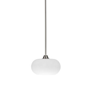 Paramount Brushed Nickel One-Light 10-Inch Pendant with White Muslin Glass