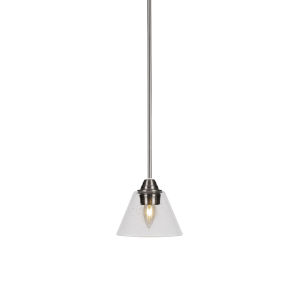 Paramount Brushed Nickel One-Light 7-Inch Mini Pendant with Clear Bubble Glass