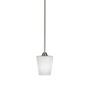 Paramount Brushed Nickel One-Light 6-Inch Mini Pendant with White Matrix Glass