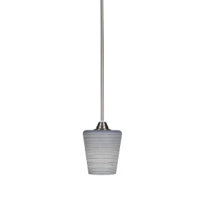 Paramount Brushed Nickel One-Light 6-Inch Mini Pendant with Gray Matrix Glass