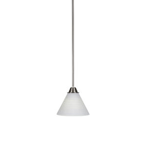Paramount Brushed Nickel One-Light 7-Inch Mini Pendant with White Matrix Glass