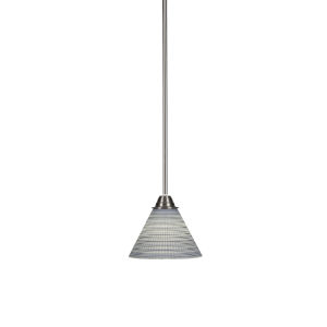 Paramount Brushed Nickel One-Light 7-Inch Mini Pendant with Gray Matrix Glass