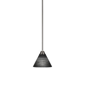 Paramount Brushed Nickel One-Light 7-Inch Mini Pendant with Black Matric Glass