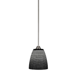 Paramount Brushed Nickel One-Light 8-Inch Mini Pendant with Black Matric Glass
