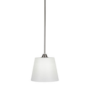 Paramount Brushed Nickel One-Light 10-Inch Pendant with White Matrix Glass