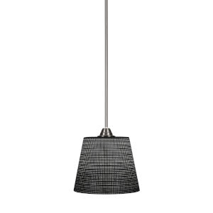 Paramount Brushed Nickel One-Light 10-Inch Pendant with Black Matric Glass