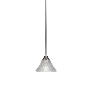 Paramount Brushed Nickel One-Light 7-Inch Mini Pendant with Italian Bubble Glass
