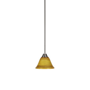 Paramount Brushed Nickel One-Light 7-Inch Mini Pendant with Firre Saturn Glass